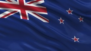 Flag of New Zealand waving in the wind